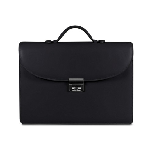 Briefcase 2 compartments - Black - Smooth Leather