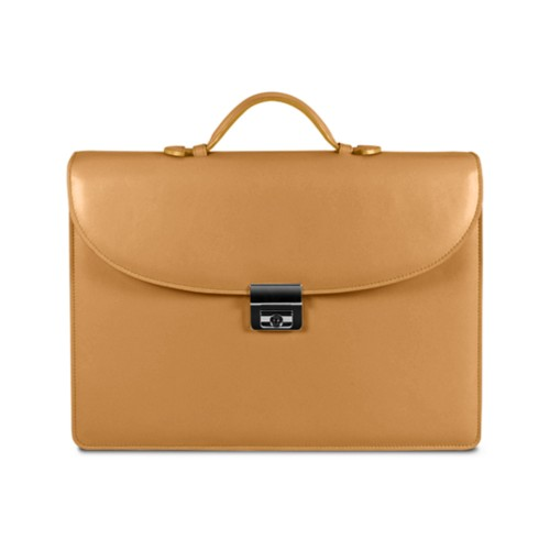 Briefcase 2 compartments - Natural - Smooth Leather