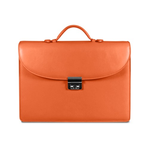 Briefcase 2 compartments - Orange - Smooth Leather