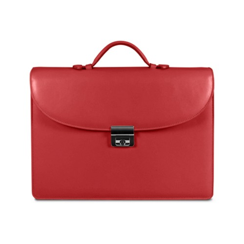 Briefcase 2 compartments - Red - Smooth Leather