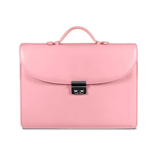 Briefcase 2 compartments - Pink - Smooth Leather