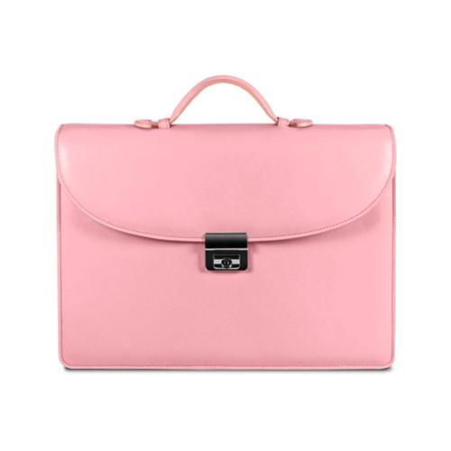 Aktentasche mit zwei Fächertaschen - Rosa - Glattleder