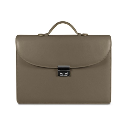 Briefcase 2 compartments - Dark Taupe - Smooth Leather