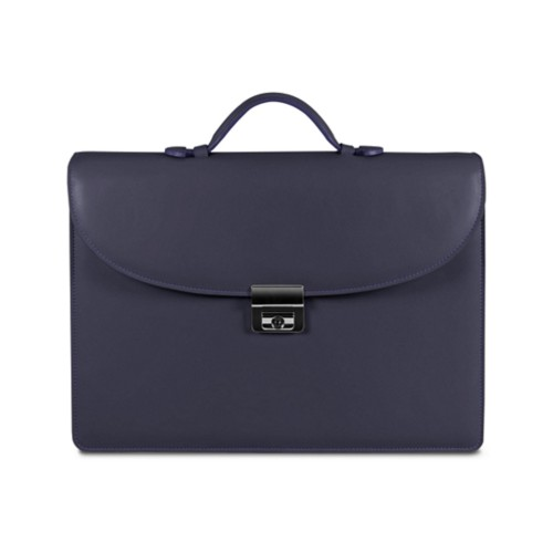 Briefcase 2 compartments - Purple - Smooth Leather