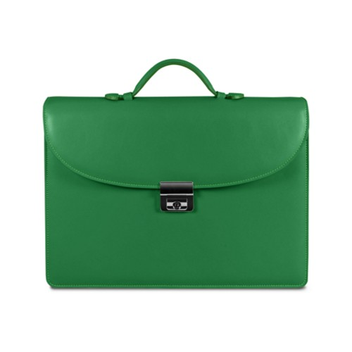 Briefcase 2 compartments - Light Green - Smooth Leather
