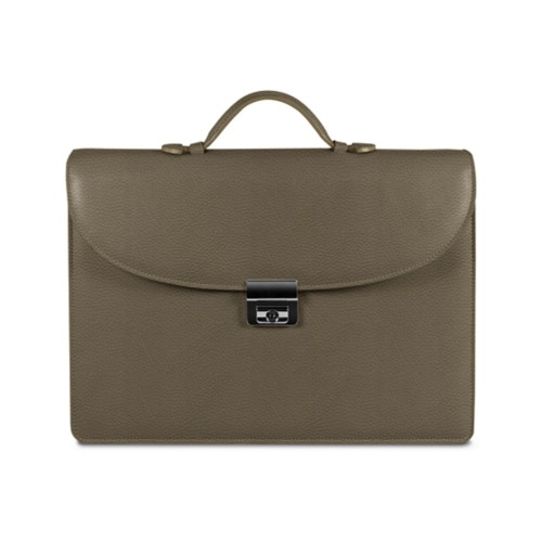 Briefcase with 3 gussets - Dark Taupe - Granulated Leather