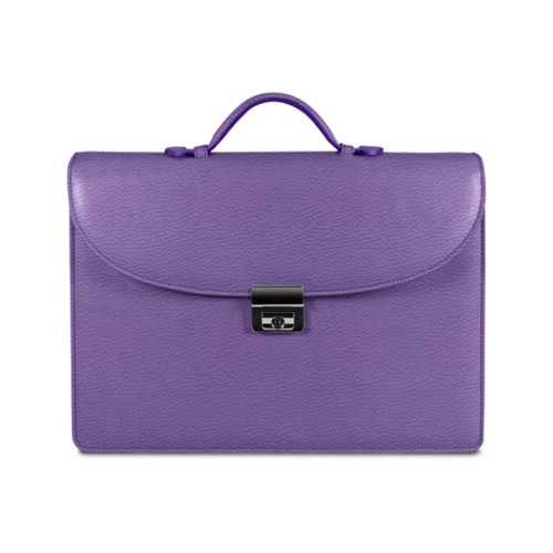 Briefcase with 3 gussets - Lavender - Granulated Leather