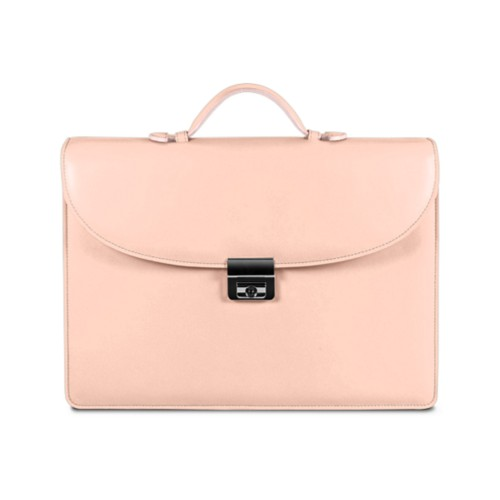 Briefcase with 3 gussets - Nude - Smooth Leather