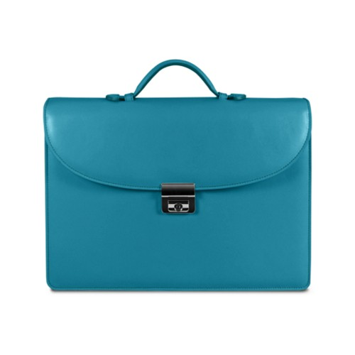 Briefcase with 3 gussets - Turquoise - Smooth Leather