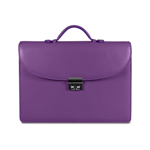 Briefcase with 3 gussets - Lavender - Smooth Leather