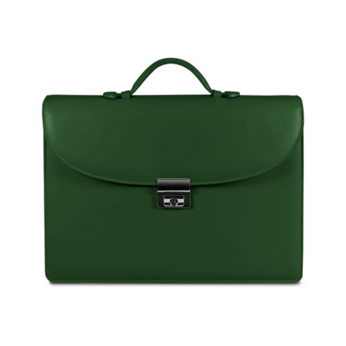 Briefcase with 3 gussets - Dark Green - Smooth Leather
