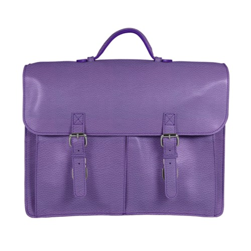 Satchel Briefcase - Lavender - Granulated Leather