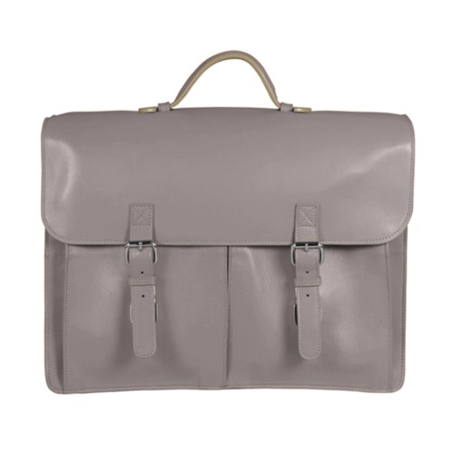 Satchel Briefcase - Light Taupe - Smooth Leather