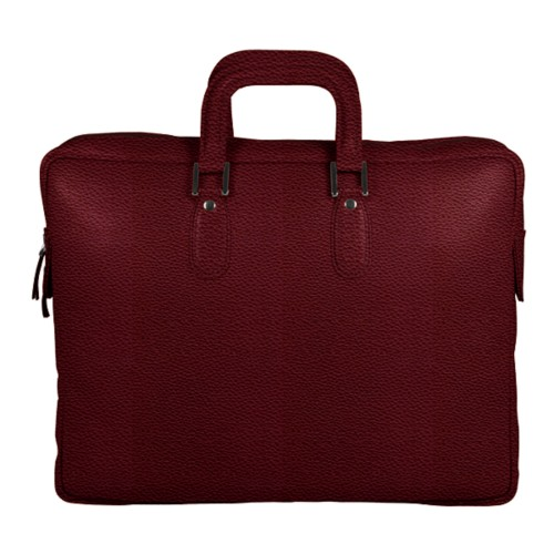 Briefcase with zipper - Burgundy - Granulated Leather