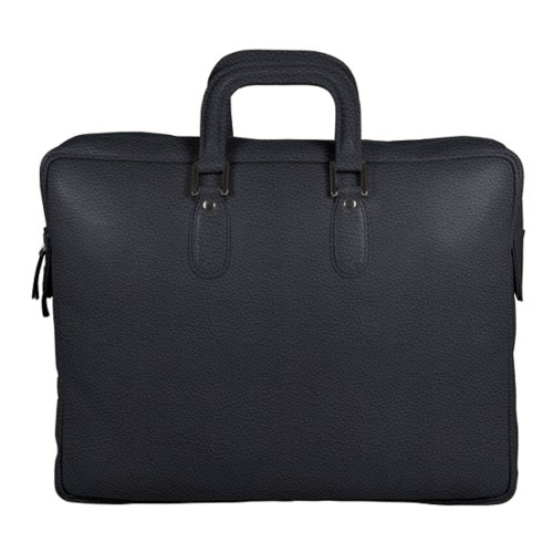 Briefcase with zipper - Navy Blue - Granulated Leather