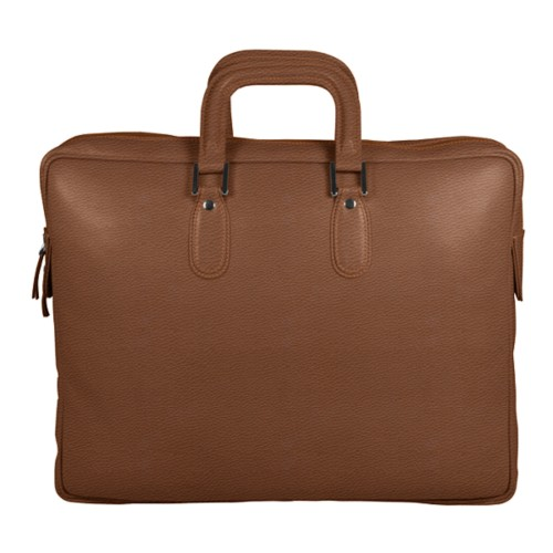 Briefcase with zipper - Tan - Granulated Leather