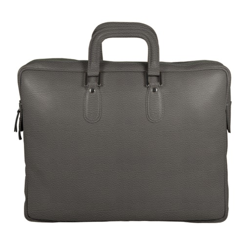 Briefcase with zipper - Mouse-Grey - Granulated Leather