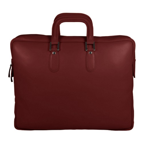 Briefcase with zipper - Burgundy - Smooth Leather