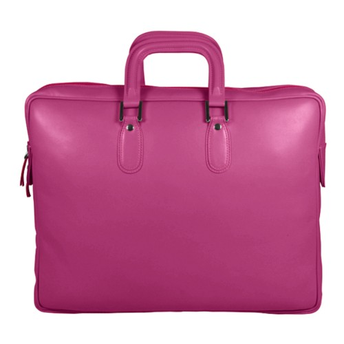 Briefcase with zipper - Fuchsia  - Smooth Leather