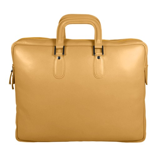 Briefcase with zipper - Yellow - Smooth Leather
