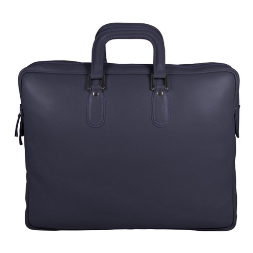 Briefcase with zipper - Purple - Smooth Leather