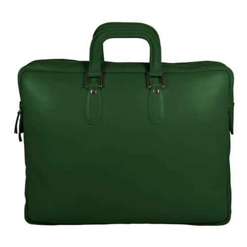 Briefcase with zipper - Dark Green - Smooth Leather