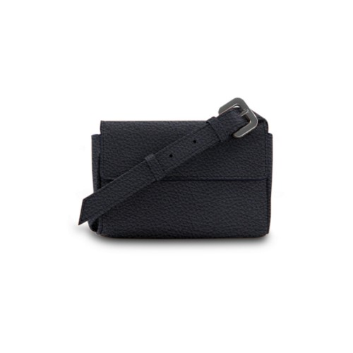 Fanny Pack - Navy Blue - Granulated Leather