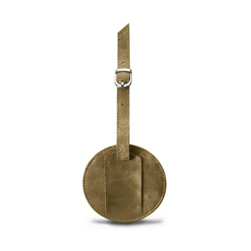 Round luggage name tag - Golden - Metallic Leather