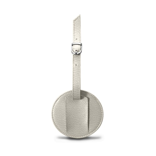Round Luggage Tag (3.5 inches) - Off-White - Granulated Leather