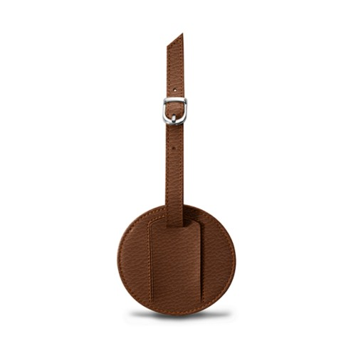 Round luggage name tag - Tan - Granulated Leather