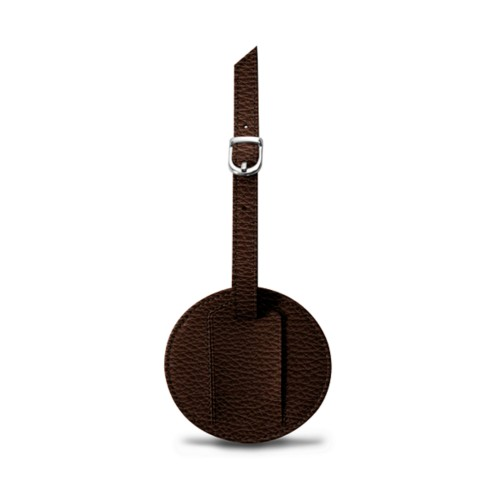 Round Luggage Tag (3.5 inches) - Brown - Granulated Leather