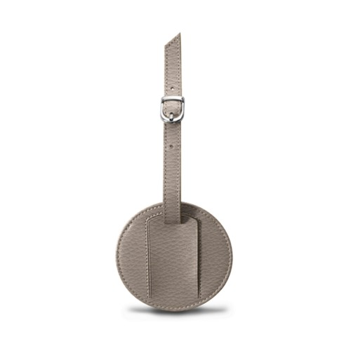Round luggage name tag - Light Taupe - Granulated Leather