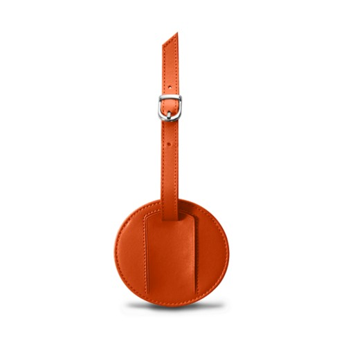 Round luggage name tag - Orange - Smooth Leather