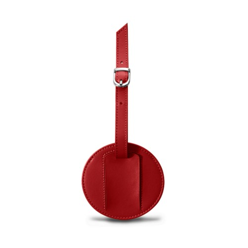 Round Luggage Tag (3.5 inches) - Red - Smooth Leather