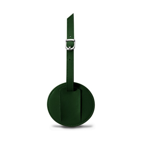 Round luggage name tag - Dark Green - Smooth Leather