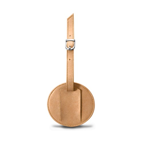 Round Luggage Tag (9 cm) - Natural - Vegetable Tanned Leather