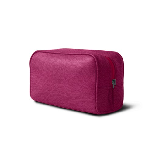 Toiletry bag (10 x 5.9 x 3.9 inches ) - Fuchsia  - Granulated Leather