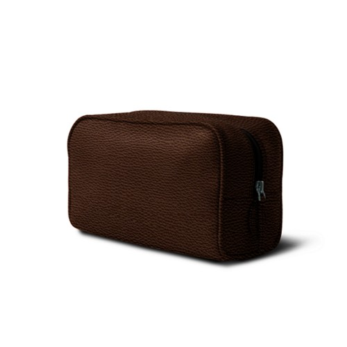 Toiletry bag (10 x 5.9 x 3.9 inches ) - Dark Brown - Granulated Leather