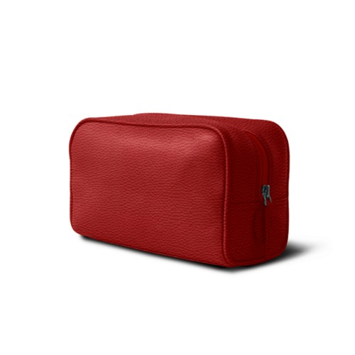 Toiletry bag (10 x 5.9 x 3.9 inches ) - Red - Granulated Leather