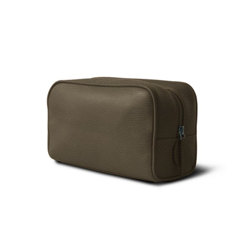 Toiletry bag (10 x 5.9 x 3.9 inches ) - Dark Taupe - Granulated Leather