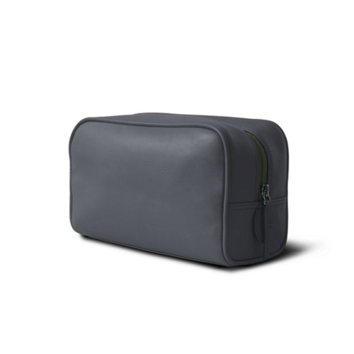 Toiletry bag (10 x 5.9 x 3.9 inches ) - Mouse-Grey - Smooth Leather