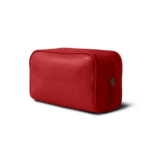 Toiletry bag (10 x 5.9 x 3.9 inches ) - Red - Smooth Leather