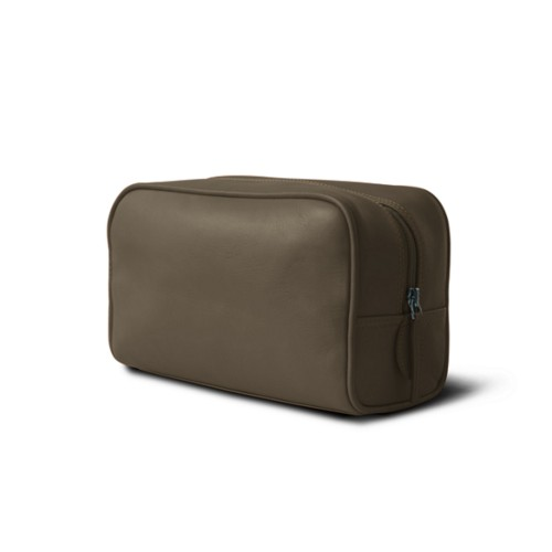 Toiletry bag (10 x 5.9 x 3.9 inches ) - Dark Taupe - Smooth Leather