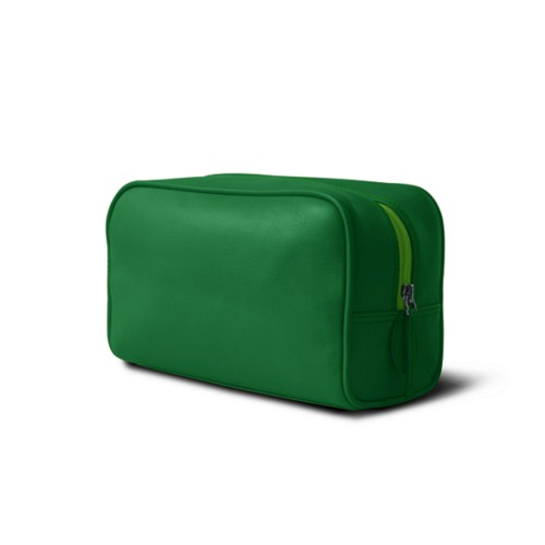 Toiletry bag (10 x 5.9 x 3.9 inches ) - Light Green - Smooth Leather