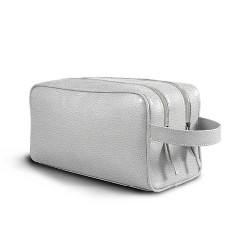 Toiletry Bag with Two Compartments (10.8 x 5.9 x 4.7 inches) - White - Granulated Leather