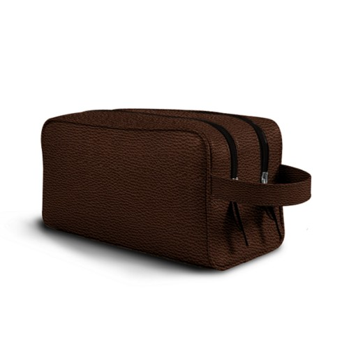 Toiletry Bag with Two Compartments (10.8 x 5.9 x 4.7 inches) - Dark Brown - Granulated Leather