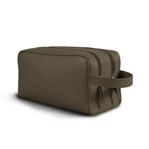 Toiletry Bag with Two Compartments (10.8 x 5.9 x 4.7 inches) - Dark Taupe - Granulated Leather
