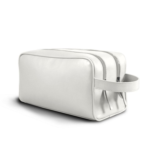 Toiletry Bag with Two Compartments (10.8 x 5.9 x 4.7 inches) - White - Smooth Leather