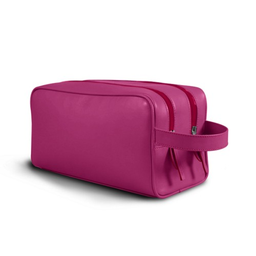 Toiletry Bag with Two Compartments (10.8 x 5.9 x 4.7 inches) - Fuchsia  - Smooth Leather