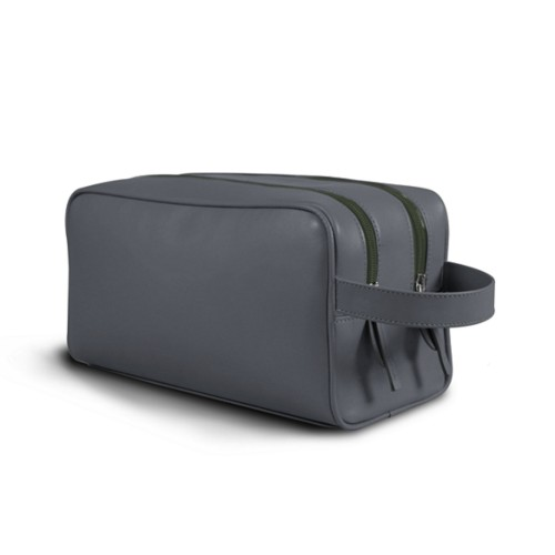 Toiletry Bag with Two Compartments (10.8 x 5.9 x 4.7 inches) - Mouse-Grey - Smooth Leather